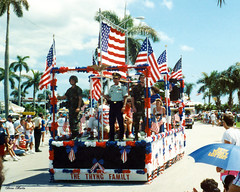 Army Men on Float, Fourth on Flagler Parade 1991 (StevenM_61) Tags: holiday men army unitedstates florida military westpalmbeach patriotic flags parade 1991 float independenceday 1990s