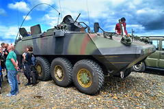 Bray Air Show 2015 (Owen J Fitzpatrick) Tags: auto show street ireland people irish green wheel festival infantry army photography drive j wire nikon gm gun force mask general display pavement military smoke air transport machine gash joe camo airshow camouflage armor weapon transportation use only damage editorial vehicle driver hatch owen hull masked dslr apc tamron armored turret eight cutter carrier defence slope bray forces piranha fitzpatrick personnel camouflaged armoured 8x8 2015 hatches wirecutter sloped mechanised ojf mowag gashes dischargers d3100 ojfitzpatrick