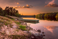End of a Chapter (Elizabeth_211) Tags: sunset sky lake water clouds landscape boats tennessee jacksontn lakegraham westtn sherielizabeth