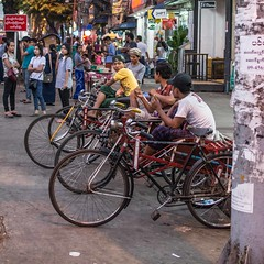 Bicycle Taxi (Ignacio Blanco) Tags: myanmar yangon produce streetphotography bike taxi vehicle transport youth employment informal merchant street anawrahta