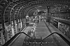 porta susa (sanino fabrizio) Tags: stazione ferroviaria treno hall ingresso urban indoor scale metallo moderno architettura torino porta susa piemonte italia canon 550d bianco e nero bn