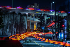 bob and weave (pbo31) Tags: california nikon d810 color january 2017 winter bayarea boury pbo31 black lightstream motion traffic 580 highway roadway over oakland eastbay alamedacounty red exit ramp overpass night dark infinity hospital ambulance interchange santaclaraavenue oaklandavenue grandlake weave