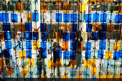 boxed in (jolanta mazur) Tags: blue yellow children toys shoppingmall shopping fascinated geometry colour pattern