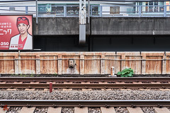 Advertisment (gullevek) Tags: chiyodaku chuouku fujixt1 fujifilm fujinonxf35mmf2rwr jp japan plants poster rust rusty things tokyo tokyoto traintracks vehicles yurakucho 中央区 乗物 千代田区 日本 有楽町 東京 東京都 物 線路 草木 錆 tōkyōto advertisment