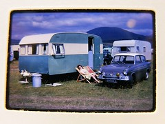 Mrs Csepregi's Caravan Holiday - 1969 (Bringing the past to the modern) Tags: ford anglia 1960 caravan holiday 105e classic car family photo slide british history camping english summer deck chair morris minor old