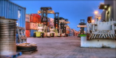 forklifts (patrix) Tags: night oakland industrial shipping hdr containers forklift