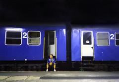 2 reloaded 2 (DocZork - restless) Tags: blue night train hungary nacht zug bahnhof trainstation blau ungarn reloaded selftimer selbstauslser