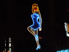 Untitled (Curtis Gregory Perry) Tags: old vegas blue light woman signs classic luz glass girl sign night vintage advertising licht neon glow dress bright lasvegas lumire nevada tube tubes ne retro nv signage glowing dying luce muestra important signe sinal neons  zeichen non segno     teken     glowed    neonic
