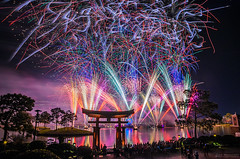 Illuminations Of Chaos (Joe Barrett Photography) Tags: illuminations epcot fireworks night japan disney waltdisneyworld afterdark worldshowcase longexposure bestoftoday yourbestoftoday flickrsbest catchycolors catchycolorsblue catchycolorspurple catchycolorsgreen catchycolorsred catchycolorsyellow catchycolorsorange ndfilter ndx64 hoyapro1digitalfilterndx64 sigma1770mmf284dcmacro nikondigital reflections