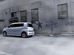 Daihatsu Materia /Urbex (VilliVeiss) Tags: voiture car mashina urbex abandonned factory belgium russia france daihatsu materia coo toyota bb subaru dex toaster dark smog affraid grey sad