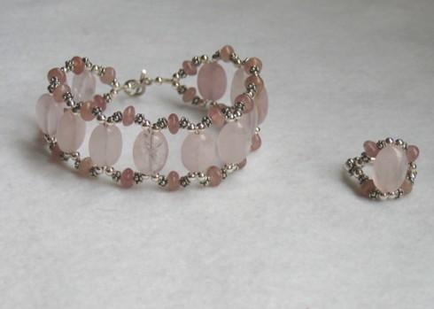Rose quartz ring and bracelet