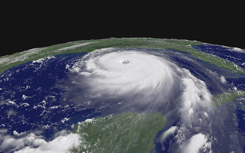 a satellite view of hurricane katrina