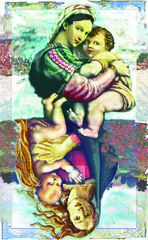 Madonna&Child (Mary Bogdan) Tags: published artist child assemblage mixedmedia madonna illustrations napoleon raphael henryviii playingcards exhibited marybogdan exhibitedworks mixedmediapaintings madonnachild bottichelli
