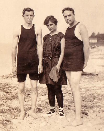 Louis Julius Freudenberg I (1894-1918); Ada Augusta Freudenberg (1885-1957); and Ralph Kohlman (1885-1957) circa 1915-1917 at Matavan Beach, near Keansburg, New Jersey