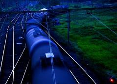 Early depart (Harry Mijland) Tags: blue holland netherlands dutch azul train utrecht blauw tracks nederland spooky rails freight lunetten dearharry harrymijland