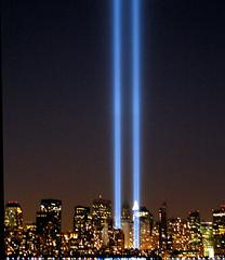 "NYC Twin Lights 9/11 ""Tribute in Lights""  Memorial 2005 (Sister72) Tags: nyc blue newyork lights memorial jerseycity worldtradecenter 911 september112001 twinlights tributeinlight 1000views solemn libertypark 2000views september112005 91105 tributeinlights"
