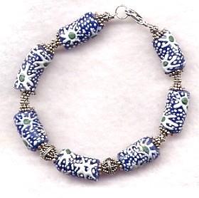 FAIR TRADE African glass bead & Bali silver bracelet
