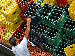 More Beer! (pfong) Tags: blue red orange man green beer yellow truck heineken pull singapore arm bottles market delivery strong littleindia cartons unload tekka kdpic1x
