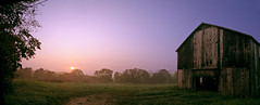 Tobacco Barn at Sunrise (code poet) Tags: topv111 fog barn sunrise topv555 topv333 kentucky bestviewedlarge 100v10f fv5 tobacco jessamine