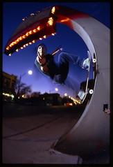 marfa FU2fakie (candersonclick) Tags: skateboarding fu2fakie marfa chicago nightshots streetlights signs neon 100vs nikonf4 fisheye
