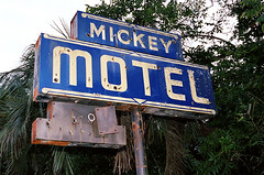 Mickey Motel (WILLIAMSHEAR) Tags: motel hotel mickey mouse blue cobalt roadside sign advertising abandoned neon palm no vancency pole william shear holes handpaint graphic lettering vintage old florida book coffee table design