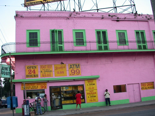 The big pink building at  Elysian Fields & St. Claude
