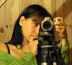 photographing the photographer (diavoli) Tags: reflection green me stairs myself mirror minolta tripod selfpotrait hama diavoli greengreengreen photographingthephotographer