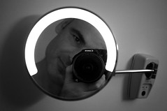 Hallo, again. (Gianni Dominici) Tags: 2005 bw selfportrait topv111 canon 100v bathroom 350d mirror october autoritratto bagno specchio freesouls