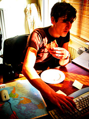 There is no time for lunch (sculpture grrrl) Tags: inaxiholland inaxi holland sculpture events colleagues office work thenetherlands luc worldmap desk keyboard eating lunch mouse man