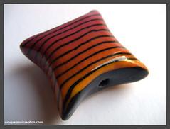Perle Hommage  Sonia Rykiel (lavomatic) Tags: argilepolymre polymerclay perle noir jaune orange rose faitmain handmade rayure soniarykiel bead jewelryornaments