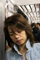 Sleeping commuter (Lil [Kristen Elsby]) Tags: sleeping portrait woman japan topv2222 train japanese tokyo asia dof sleep tired editorial commuter  commuting asleep leaning yamanote yamanoteline eastasia