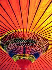 Colorful Japanese Umbrella (jasohill) Tags: 2005 pink school festival japan umbrella japanese high rainbow fav50 saveme2 deleteme10 traditional culture best 2550fav 500v50f iwate backgrounds  tradition a70 canona70  tohoku cultural fujisawa  touhoku  japantimes   82points 1000v40f views2000