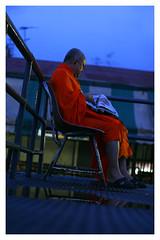 Blue 'n  Orange (shutupyourface) Tags: bangkok thailand monk ferry jetty whark orange blue 2005