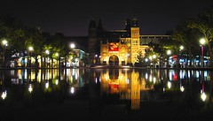 Amsterdam (josef.stuefer) Tags: city reflection water netherlands amsterdam architecture night dark lights museumplein artistic capital historic nationalgallery explore citycenter rijksmuseum benelux firstquality josefstuefer travelerphotos