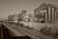 BRUSH (mava) Tags: loughborough eastmidlands england bw sepia factory railroad sensordust dust uk canon eosdigitalrebelxt efs1855mmf3556ii lenstagged digital photo