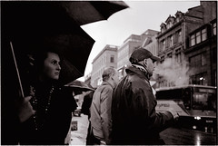 crossing in the rain (again) (Hello Mr Greg) Tags: street rain umbrella edinburgh bessa rangefinder smoke
