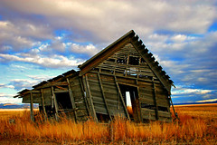 Prairie Fixer Upper (Mountain Mike) Tags: autumn sunset abandoned bravo fallcolors quality canon20d idaho forsakenplaces weatheredwood fixerupper blm1 camasprairie