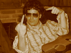 Giving the F-U to Communism! (greggoconnell) Tags: greggoconnell studio whitetrash recordingstudio mullet mulletboy sunglasses mic microphone guitar acoustic communism fuckyou fu pointing finger thefinger middlefinger