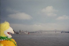 Flat Eric looks out over the Mississippi as a steamboat rolls by