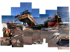 Astillero - Dockyard- Nearly Home (Virginia G) Tags: panorama collage 1025fav wow davidhockney hockney joiner euskalherria euskadi composites hendaye hendaia hendaya aquitaine