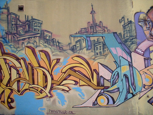 graffiti of the Toronto skyline