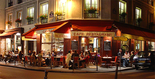 Paris bistro at night, Marais district