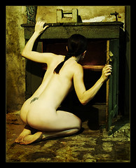 the cupboard is bare (lorrainemd) Tags: poverty woman art me self painting nude bravo alone forsakenpeople 500v50f oil cupboard antiphoto 1500v60f