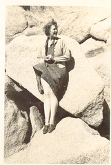 Friday Cheesecake: On the Rocks (mrwaterslide) Tags: old sexy girl smiling naughty outdoors happy rocks snapshot rocky cheesecake upskirt oldphoto racy