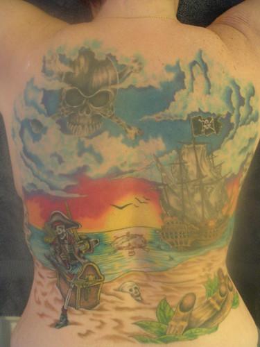 pirate back tattoo design