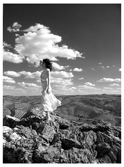 Somewhere (auralis) Tags: sky woman white mountain black texture portugal nature girl rock female clouds contrast photography countryside photo high model wind sofia top horizon hills photograph somewhere auralis