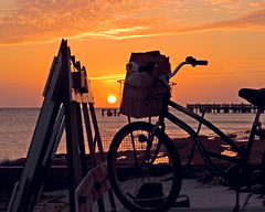 Park n Watch (key lime pie yumyum) Tags: sunset sea orange beach bicycle delete5 delete2 pier delete6 delete7 save3 delete8 delete3 save7 save8 delete delete4 save save2 save9 save4 save5 save10 keywest save6 savedbythedeltemeuncensoredgroup