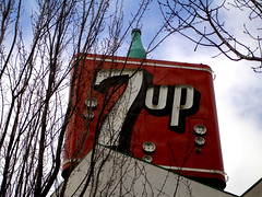 Old 7up Sign in Portland (oybay) Tags: old sign oregon portland billboard hollywood pdx soda 7up outofbusiness 59points