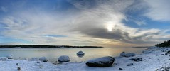 Nynsviken 2006-01-29 (visulogik) Tags: winter sea sky panorama sun snow ice water birds clouds wow heaven sweden shore nynshamn autostich