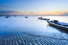 (samyaoo) Tags: sunset red sea reflection beach windmill silhouette clouds coast boat sand power wind ripple tide taiwan   wetland turbines   changhua